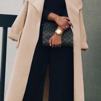 Trendy Turndown Collar Long Sleeves Light Tan Cotton Long Wool Coat