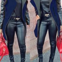 Fashion Turndown Collar Long Sleeves Zipper Design Patchwork Navy Blue Long Wool Coat