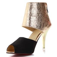 Trendy Round Peep Toe Color-block Patchwork Stiletto Super High Heel Black PU Pumps