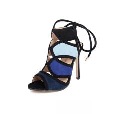 Suede Stiletto Super High Fashion Ankle Strap Sandals