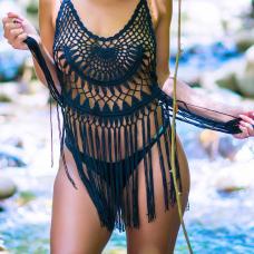 Sexy V Neck Sleeveless Tassel Design Black Cotton Blends Cover-Ups
