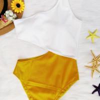 Sexy Show A Shoulder Patchwork Yellow Nylon One-piece Swimwear