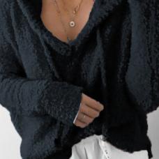 Euramerican Hooded Collar Long Sleeves Black Cotton Shirts
