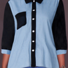 Euramerican Mandarin Collar Patchwork Blue Cotton Shirts