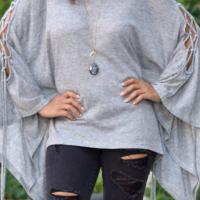 Euramerican Round Neck Batwing Sleeves Design Grey Cotton Shirts