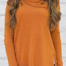 Trendy Long Sleeves Side Split Orange Cotton Shirts