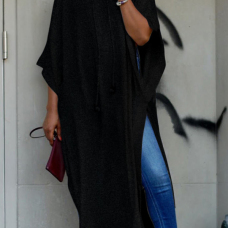 Trendy Turtleneck Half Sleeves Black Cotton Blends Long Coat
