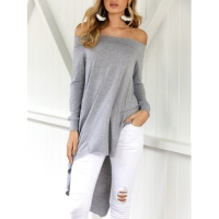 Leisure Dew Shoulder Asymmetrical Grey Cotton Blends Shirts