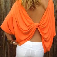 Leisure Round Neck Backless Orange Polyester T-shirt