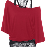 Trendy Dew Shoulder Lace Combination Red Cotton Tops