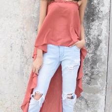 Stylish Asymmetrical Pink Polyester Tank Top