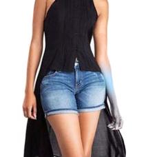 Stylish Turndown Collar Asymmetrical Black Chiffon Shirts