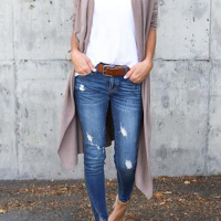 Cotton Turndown Collar Long Sleeve Long Cardigan Sweaters & Cardigans