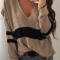 Euramerican V Neck Long Sleeves Patchwork Khaki Wool Sweaters