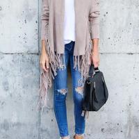 Leisure Tassel Design Khaki Cotton Cardigans