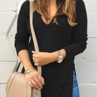Leisure V Neck Side Split Black Polyester Sweaters