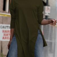 Euramerican Round Neck Asymmetrical Army Green Velvet T-shirt