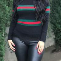 Euramerican Round Neck Striped Patchwork Black Blending T-shirt