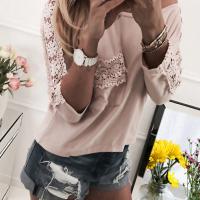 Leisure Round Neck Lace Patchwork Pink Cotton Blends T-shirt