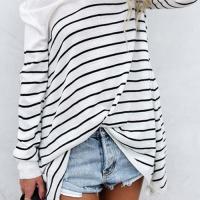 Leisure Round Neck Striped White Blending T-shirt