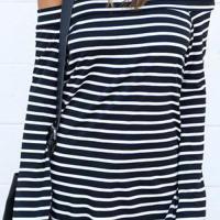 Seeking Off The Shoulder Striped T-shirt