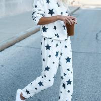 Euramerican Dew Shoulder Five-stars Printed White Cotton Two-piece Pants Set
