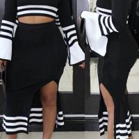 Euramerican Dew Shoulder Striped Black Polyester Two-piece Skirt Set