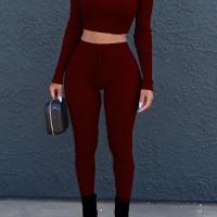 Euramerican Dew Shoulder Wine Red Cotton Two-piece Pants Set