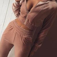 Euramerican Mandarin Collar Zipper Design Pink Cotton Two-piece Pants Set