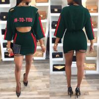 Euramerican Printed Hollow-out Green Cotton Blends Two-piece Skirt Set