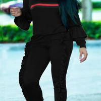 Euramerican Round Neck Ruffle Design Black Blending Two-Piece Pants Set