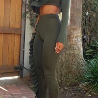 Euramerican Show A Shoulder Asymmetrical Ruffle Design Army Green Blending Two-piece Pants Set