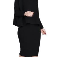 Euramerican Turtleneck Long Sleeves Black Two-piece Skirt Set
