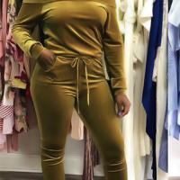 Sexy Bateau Neck Drawstring Yellow Velvet Two-Piece Pants Set
