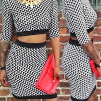Sexy Round Neck Geometric Printed Blending Two-piece Skirt Set