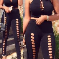 Sexy Round Neck Hollow-out Black Milk Fiber Two-piece Pants Set