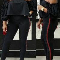 Trendy Dew Shoulder Patchwork Black Polyester Two-piece Pants Set