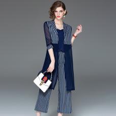 Original design women's 2019 spring new fashion sleeves striped three-piece wide leg pants suit #94995