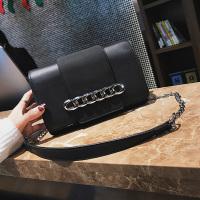 Fashion Chain Decoration Black Leather Crossbody Bag