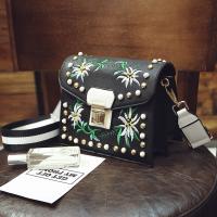 Fashion Embroidery Flower Decorative Black PU Crossbody Bag
