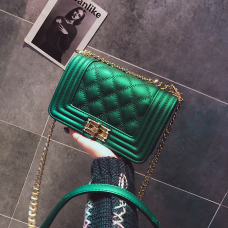 Fashion Rhombus Grid Design Green leather Crossbody Bag