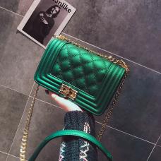 Fashion Rhombus Grid Design Green leather Crossbody Bag