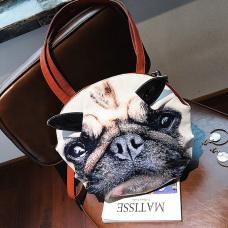 Fashion Zipper Design Printed Khaki PU Crossbody Bag