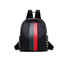 Fashion Zipper Design Striped Green leather Backpacks