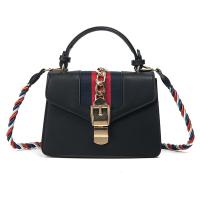 Fashion Patchwork Black PU Crossbody Bag