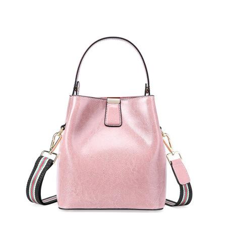 Leather Women's bag with fashionable waxy leather bucket bag handbag shoulder bag #95101