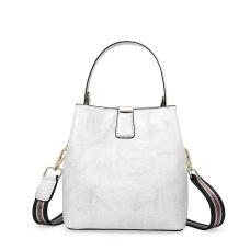 Leather Women's bag with fashionable waxy leather bucket bag handbag shoulder bag #95102