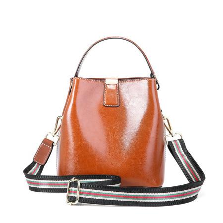 Leather Women's bag with fashionable waxy leather bucket bag handbag shoulder bag #95103