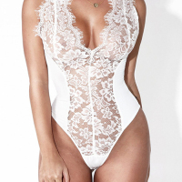Sexy See-Through  White Lace One-piece Jumpsuits