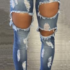 Euramerican High Waist Broken Holes Blue Denim Pants